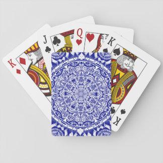 Dark Blue Mehndi Mandala Playing Cards