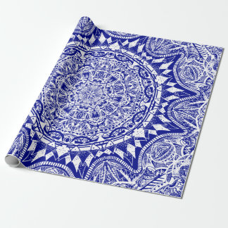 Dark Blue Mehndi Mandala Wrapping Paper