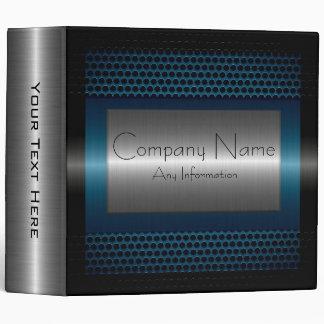 Dark Blue Metallic Stainless Steel Look 3 Ring Binders