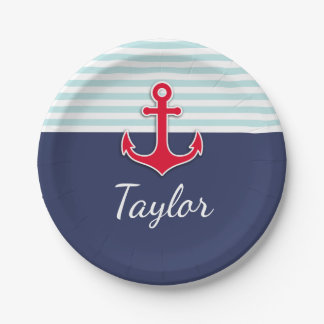 Dark Blue Mint Striped Red Anchor Custom Text 7 Inch Paper Plate
