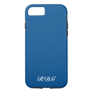 Dark Blue Modern Professional White Monogram iPhone 8/7 Case