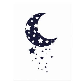 Dark blue moon and stars silhouette magical sky postcard