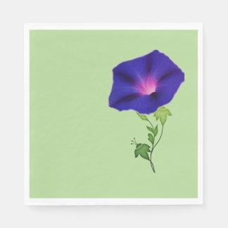 Dark Blue Morning Glory Paper Napkin