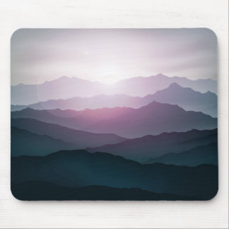 dark blue mountain landscape with fog mouse pad