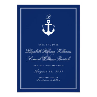 Dark Blue Nautical Monogram Save The Date Card