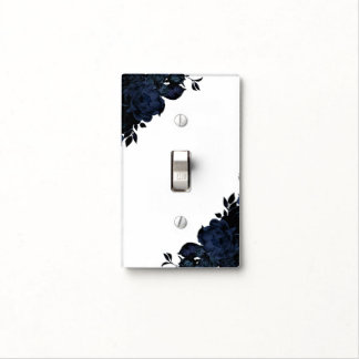 Dark Blue Navy Flowers Floral Gothic Glam Custom Light Switch Cover