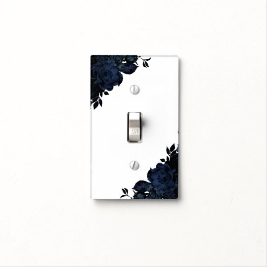 Dark Blue Navy Flowers Floral Gothic Glam Custom Light Switch Cover