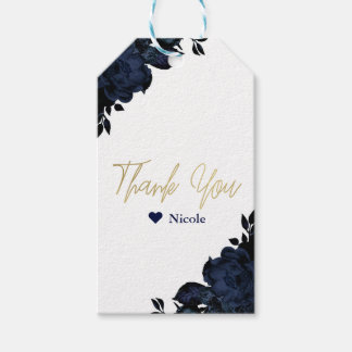 Dark Blue Navy Flowers Floral Gothic Glam Favor Gift Tags