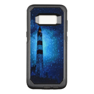 Dark blue night with a lighthouse and raindrops OtterBox commuter samsung galaxy s8 case