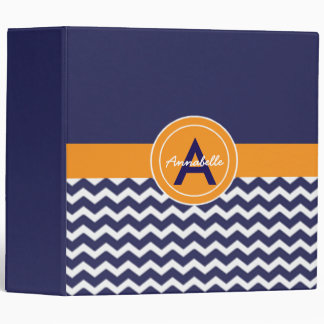 Dark Blue Orange Chevron Binders