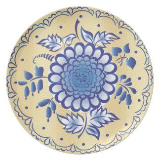 Dark Blue Ornament Party Plate