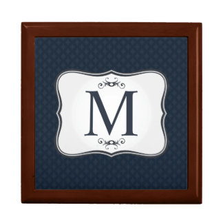 Dark Blue Pattern – Classy Men's Monogram Gift Box