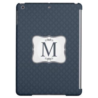 Dark Blue Pattern – Classy Men's Monogram iPad Air Cover