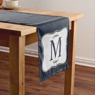 Dark Blue Pattern – Classy Men's Monogram Short Table Runner