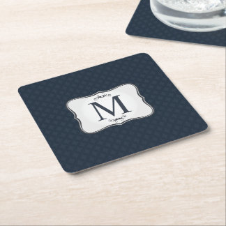 Dark Blue Pattern – Classy Men's Monogram Square Paper Coaster