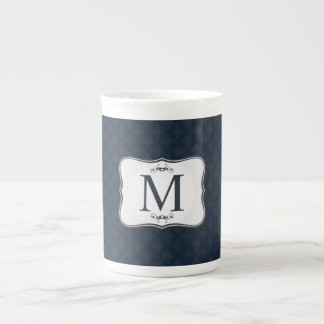 Dark Blue Pattern – Classy Men's Monogram Tea Cup