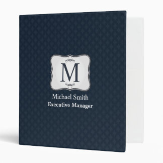 Dark Blue Pattern – Classy Men's Monogram Vinyl Binders