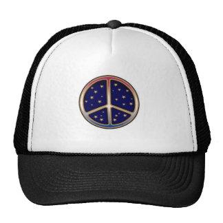 DARK BLUE PEACE SIGN TRUCKER HATS