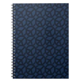 Dark Blue Peace Sign Pattern Spiral Notebooks