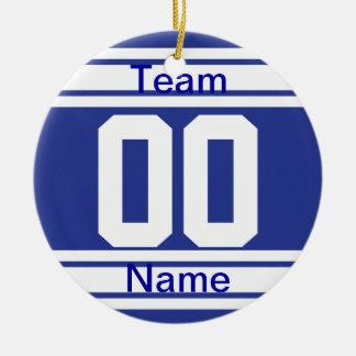 Dark Blue Personalize Basketball Team Ornament
