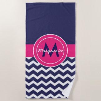 Dark Blue Pink Chevron Beach Towel