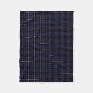 Dark blue plaid black/yellow/gold fleece blanket