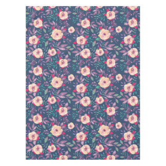 Dark Blue Purple and Pink floral pattern Tablecloth