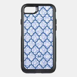 Dark Blue Quatrefoil Pattern Powder Blue Damasks OtterBox Commuter iPhone 7 Case