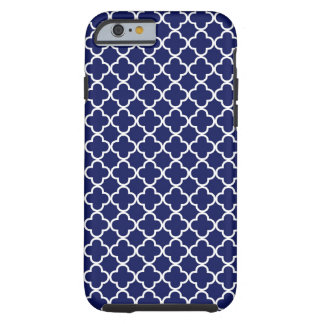 Dark Blue Quatrefoil Pattern Tough iPhone 6 Case