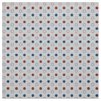 Dark Blue, Red and White Polka Dots Circles Fabric