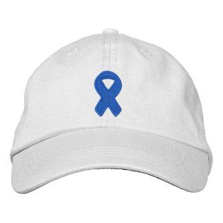 Dark Blue Ribbon Awareness Embroidered Hat
