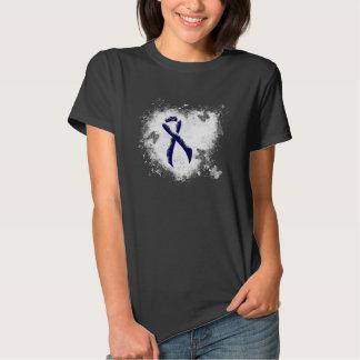 Dark Blue Ribbon Grunge Heart Tshirts