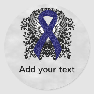 Dark Blue Ribbon with Wings Round Sticker