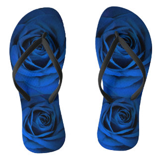 Dark Blue Rose Shower Shoes FlipFlops