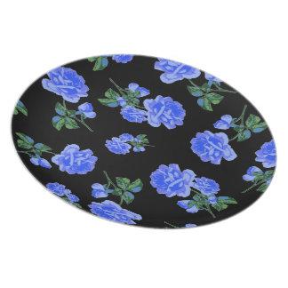 Dark Blue Roses black flower pattern plate