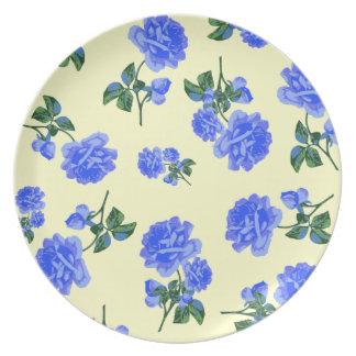 Dark Blue Roses on cream flowery plate