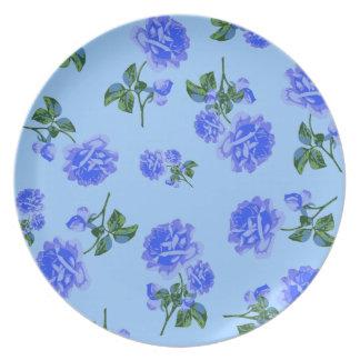 Dark Blue Roses on summery blue girly plate