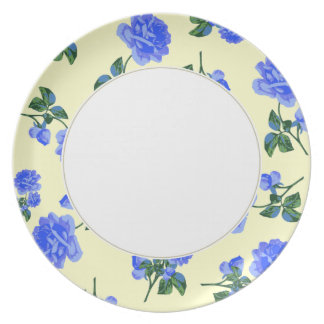 Dark Blue Roses pattern cream & white floral plate