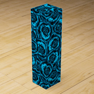 Dark blue roses wine gift box