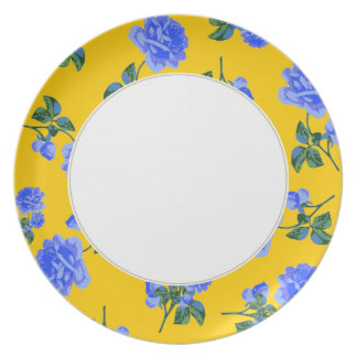 Dark Blue Roses - yellow & white flowery plate