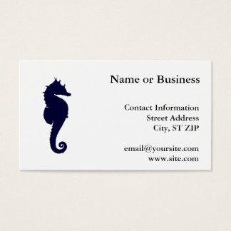Dark Blue Seahorse Business Card