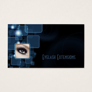 Dark Blue Shimmering Cubes Eyelash Extensions Card