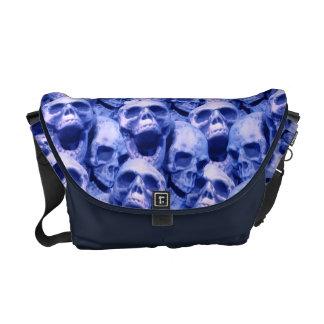 Dark Blue Skulls Courier Bag