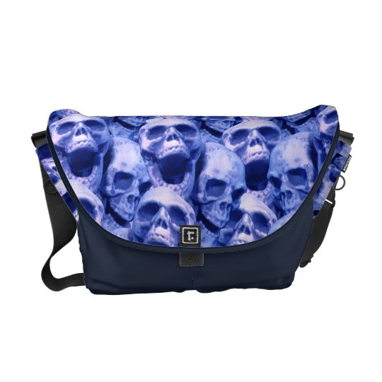Dark Blue Skulls Courier Bag