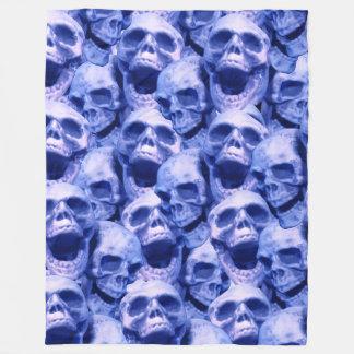 Dark Blue Skulls Fleece Blanket