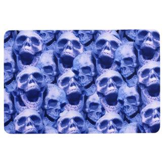 Dark Blue Skulls Floor Mat