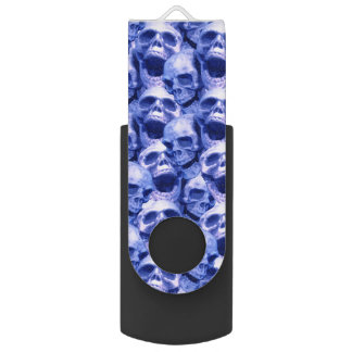 Dark Blue Skulls Swivel USB 3.0 Flash Drive
