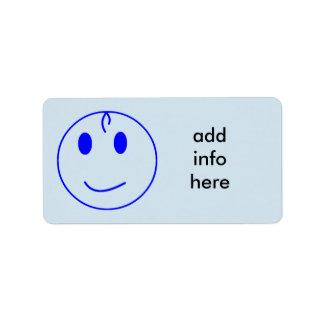 Dark Blue Smiley Face Label