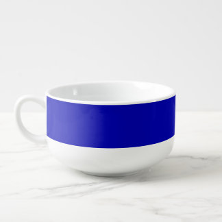 Dark Blue Solid Colour Soup Bowl With Handle