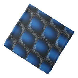 Dark Blue Squares And White Floral Decoration Bandana
